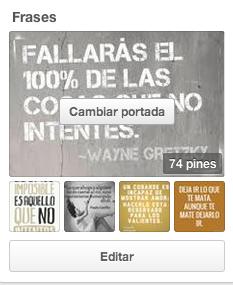 Cambiar portada de un tablero en Pinterest