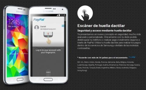 Contraseñas biométricas. Lector de huellas Samsung