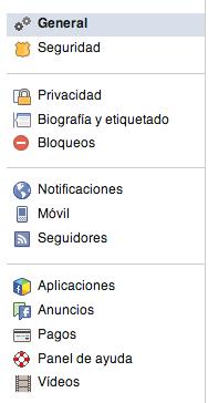 Configuración de vídeos de Facebook