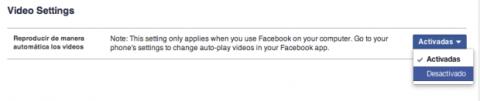 Desactivar vídeos automáticos en Facebook