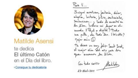 Amazon estrena las dedicatorias digitales en los ebooks, con El Último Catón de Matilde Asensi