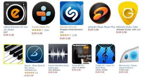 Apps musicales gratis en Amazon