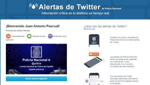 La Policía Nacional española estrena las Alertas de Twitter