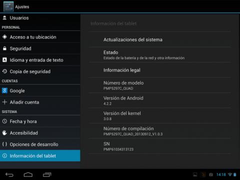 El MultiPad 4 incluye un Android 4.2.2 con una interfaz casi sin modificar.