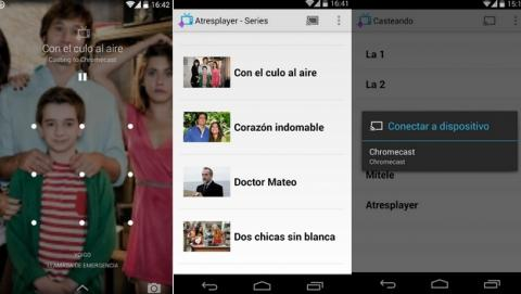 Casteando, una app que te permite retrasmitir el contenido de AtresPlayer, MiTele, RTVE, Clan, Disney y otros canales televisivos españoles, a tu tele, con Chromecast.