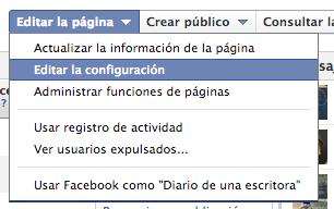Editar configuración de página de Facebook