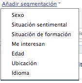 Añadir segmentación en Facebook