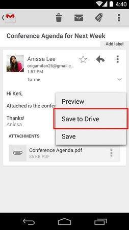Gmail guarda en Google Drive