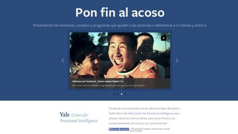 Facebook estrena web llamada Centro de Prevención del Acoso, para luchar contra el ciberacoso.