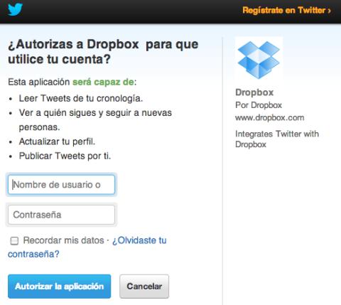 Autorizar a Dropbox para utilizar Twitter