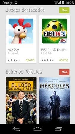 Web Google Play versión móvil