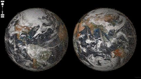El primer selfie global de la Humanidad, creado por la NASA, desde el espacio. Contiene más de 36.000 selfies de gente de 113 países.