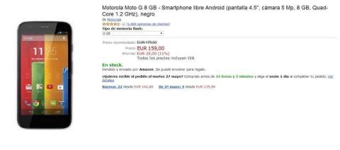 Moto G en oferta en Amazon 159 €