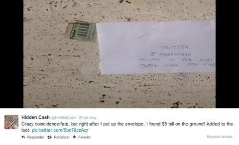 Regalan dinero en Twitter @hiddencash