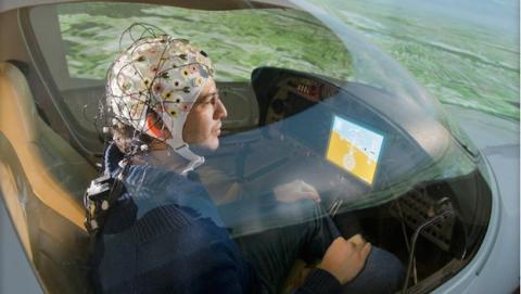 Pilotos controlan avión con la mente
