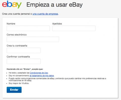 Registrase en eBay