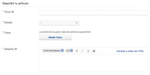 Crear anuncio eBay