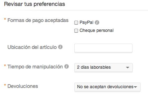 Preferencias de pago en eBay