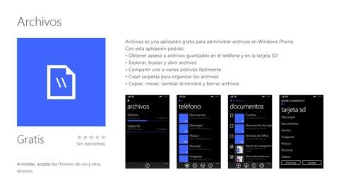 Archivos, nueva app oficial de Microsoft para Windows Phone 8.1 que permite explorar los ficheros de tu dispositivo y tarjeta micro SD.