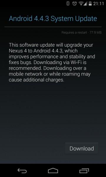 android 4.4.3 nexus 4 nexus 10