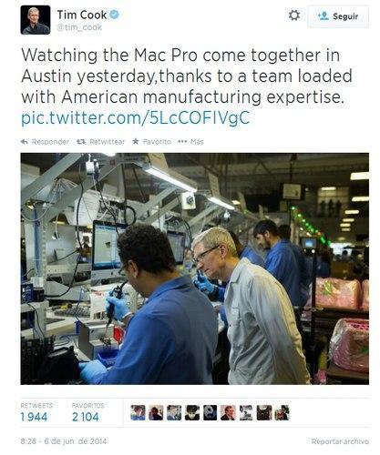 Tim Cook en la fábrica de Mac Pro... con Windows