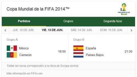 El buscador de Google ofrece horarios, partidos y clasificaciones de la Copa del Mundo Brasil 2014.