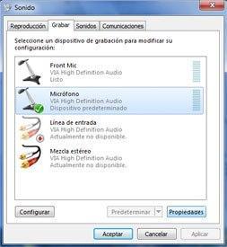 Sonido en Panel de Control de Windows 7