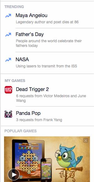 Sidebar de Facebook para iPad