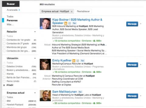 Contactos de una empresa en LinkedIn