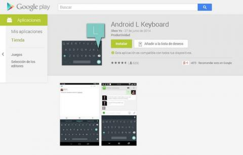 Teclado oficial Android L