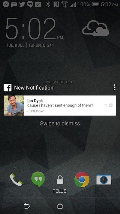 Captura de pantalla de actualización de prueba de Facebook