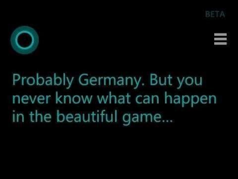 Cortana predice resultados del Mundial