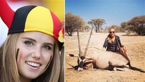 L'Oréal rompe el contrato con Axelle Despiegelaere, la más guapa del Mundial, tras subir una foto cazando antílopes.