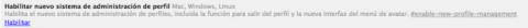 Habilitar administración de perfil Google Chrome