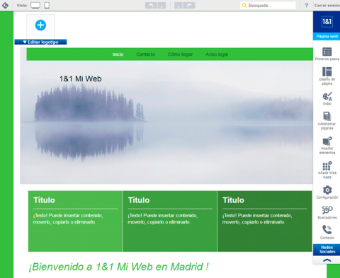 Panel de edición de 1&1 Mi Web
