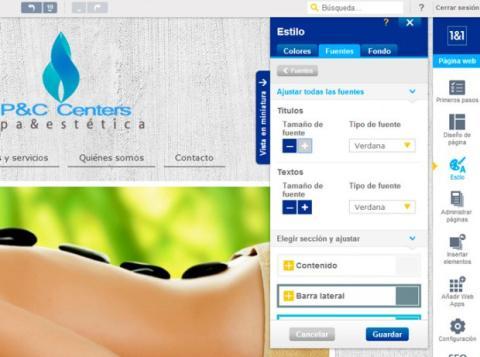 Cambia el tipo de letra y los colores de tu página web