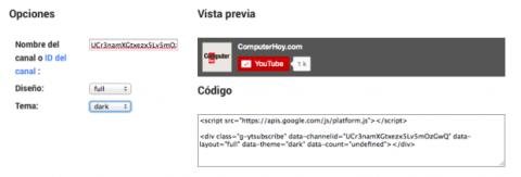 Configuración botón de Youtube