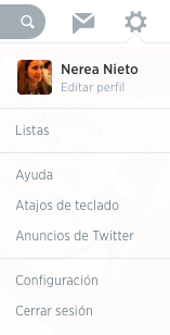Menú de Twitter