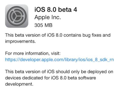 Nueva beta para iOS 8 ya disponible