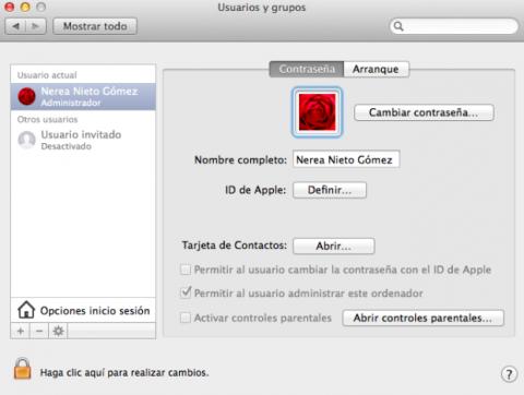 Usuarios y cuentas Mac