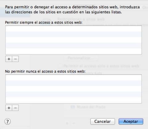 Limitar el acceso a sitios web en Mac