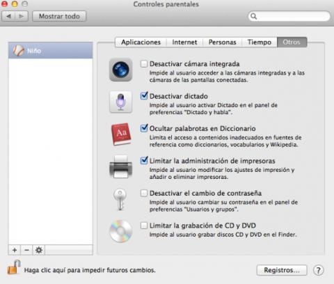 Otros ajustes de control parental en Mac