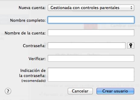 Nuevo usuario en Mac