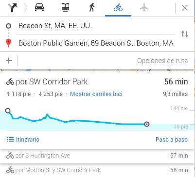 Ruta en bicileta en Google Maps