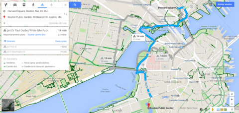 Carriles bici en Google Maps