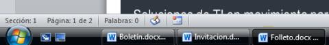 Documentos abiertos barra de tareas