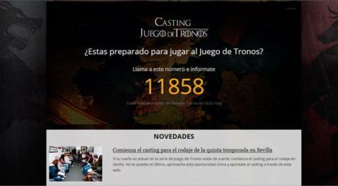 timo web con la excusa del casting Juego de Tronos