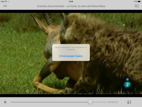 app RTVE para iPad con Chromecast