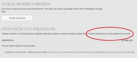Google Play Music desautorizaciones