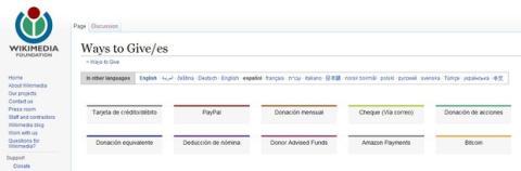 Wikipedia acepta donaciones en Bitcoins